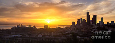 Skylines Royalty-Free and Rights-Managed Images - Seattle Skyline Dusk Sun by Mike Reid