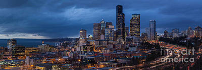 Skylines Royalty-Free and Rights-Managed Images - Seattle Skyline Evening Drama by Mike Reid
