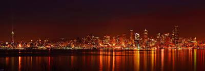 Seattle Skyline For 12th Man Art Print