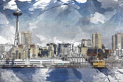 Seattle Skyline Painting - Seattle Skyline Freeform by David Wagner