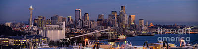 Skylines Royalty-Free and Rights-Managed Images - Seattle Skyline from Magnolia at Dusk by Mike Reid