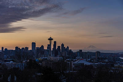 Skylines Royalty-Free and Rights-Managed Images - Seattle Skyline Hazy Dawn by Mike Reid