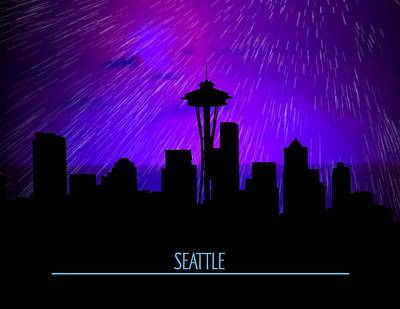 Digital Art - Seattle Skyline by John Wills