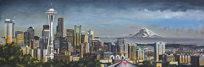 Skyline Painting - Seattle Skyline by Nick Buchanan
