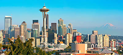 City Photograph - Seattle Skyline Panorama by JR Photography