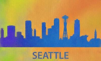 Seattle Skyline Digital Art - Seattle Skyline Silhouette by Dan Sproul