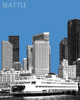 Ferry Digital Art - Seattle Skyline - Slate by DB Artist