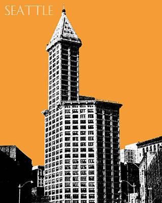 Seattle Skyline Digital Art - Seattle Skyline Smith Tower - Orange by DB Artist
