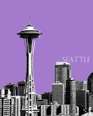 Building Digital Art - Seattle Skyline Space Needle - Violet by DB Artist