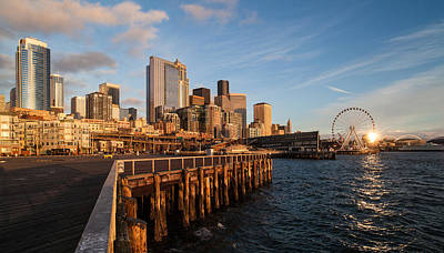 Skylines Royalty-Free and Rights-Managed Images - Seattle Skyline Sunlit Pier by Mike Reid
