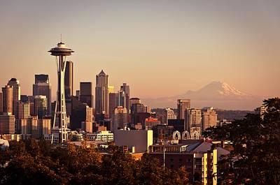 Mount Rainier Photograph - Seattle Skyline Sunset by Ardita Kola