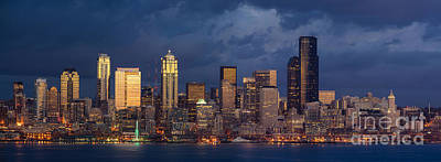 Skylines Royalty-Free and Rights-Managed Images - Seattle Skyline Sunset Detail by Mike Reid