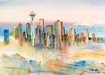Mt Rainier Wall Art - Painting - Seattle Skyline by Thomas Hughes