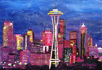 Seattle Painting - Seattle Skyline With Space Needle At Night by M Bleichner