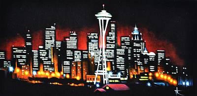 Sunsert Painting - Seattle  Sold by Thomas Kolendra