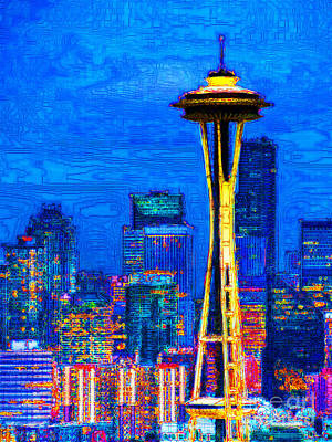 World Tour Digital Art - Seattle Space Needle 20130115v1 by Wingsdomain Art and Photography