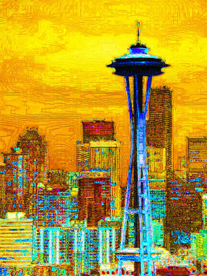 World Tour Digital Art - Seattle Space Needle 20130115v2 by Wingsdomain Art and Photography