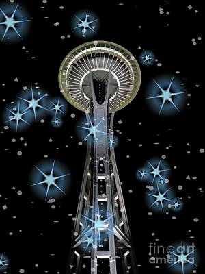Print featuring the digital art Seattle Space Needle Blue Stars by Chalet Roome-Rigdon