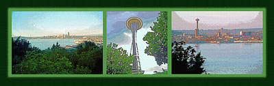 Metro Art Mixed Media - Seattle Space Needle Triptych by Steve Ohlsen