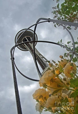 Seattle Spaceneedle With Watercolor Effect Yellow Roses Art Print by Valerie Garner