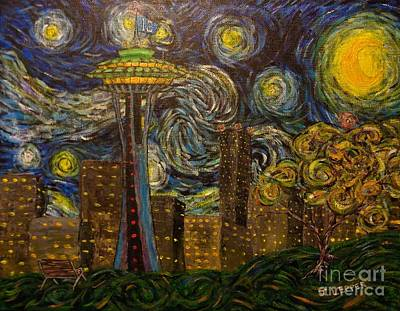 1-war Is Hell Royalty Free Images - Dedication to Van Gogh Seattle Starry Night Royalty-Free Image by Jack Lepper