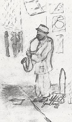 Seattle Drawing - Seattle Street Musician by Janel Bragg