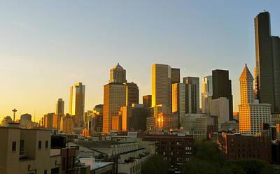 City Sunset Digital Art - Seattle Summer  by Cory  Lamblin
