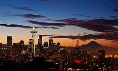 Washington State Photograph - Seattle Sunrise by Mike Reid