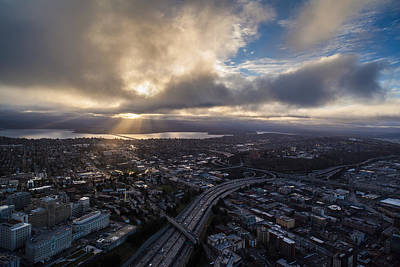 Seattle Sunrise Sunrays Art Print by Mike Reid