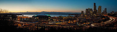 Skylines Royalty-Free and Rights-Managed Images - Seattle Sunset by Mike Reid