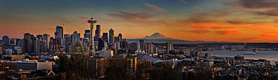 Photograph - Seattle Sunset Panorama by Mary Jo Allen