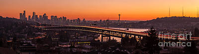 Freeway Photograph - Seattle Sunset Panorama by Mike Reid