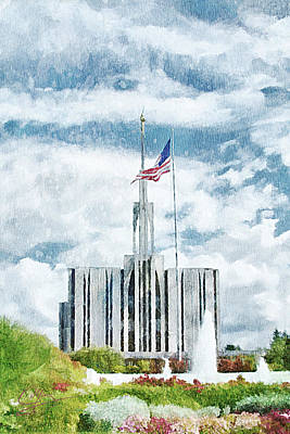 Art Print featuring the painting Seattle Temple 1 by Greg Collins