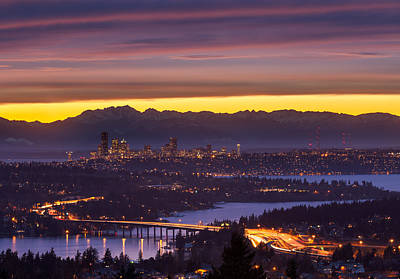 Olympic Peninsula Photograph - Seattle Twilight by Thorsten Scheuermann