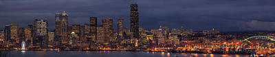 Skylines Royalty-Free and Rights-Managed Images - Seattle Urban Details Dusk by Mike Reid