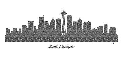 Office Decor Digital Art - Seattle Washington 3d Bw Stone Wall Skyline by Gregory Murray