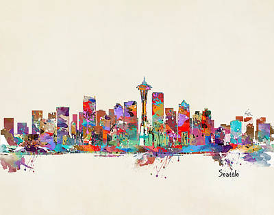 Seattle Skyline Painting - Seattle Washington by Bleu Bri