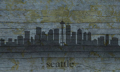 Skyline Mixed Media - Seattle Washington City Skyline Silhouette Distressed On Worn Peeling Wood by Design Turnpike