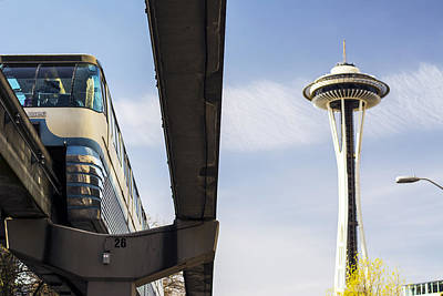 Monorail Photograph - Seattle Washington Monorail And Space Needle by Michael DeMello