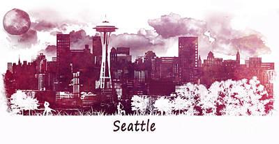 Seattle Digital Art - Seattle Washington Skyline by Justyna JBJart