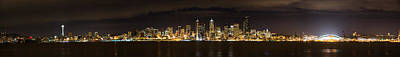 Photograph - Seattle Waterfront At Night Panoramic by Chris McKenna