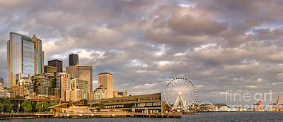 Seattle Waterfront Photograph - Seattle Waterfront Bathed In Golden Hour - Seattle Skyline - Puget Sound Washington State by Silvio Ligutti