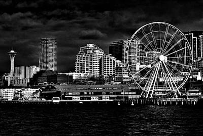 Photograph - Seattle Waterfront In Black And White by Benjamin Yeager