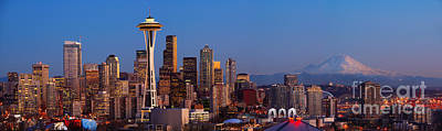 Puget Sound Photograph - Seattle Winter Evening Panorama by Inge Johnsson