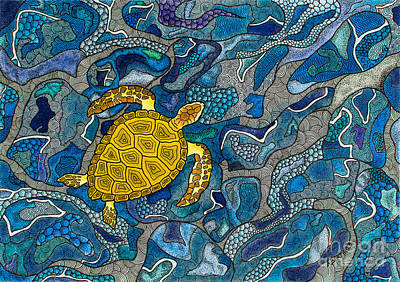 Reptiles Drawings - Sea Turtle Impression by Andreas Berthold