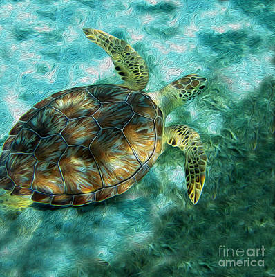 Ocean Turtle Mixed Media - Seaturtle Painting by Jon Neidert