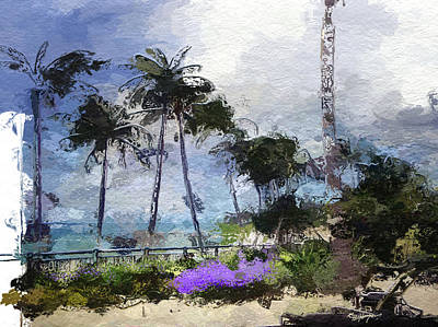 Tropical Scene Drawing - Seaview Terrace by Anthony Fishburne