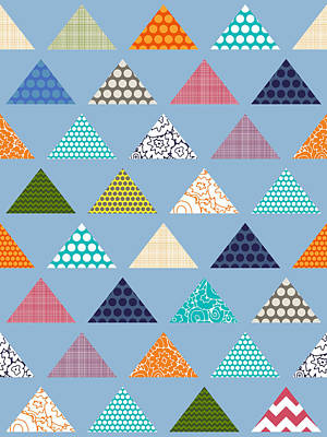 Turquoise Drawing - Seaview Triangles Blue by Sharon Turner