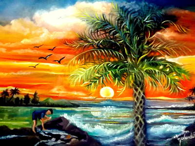 Art Print featuring the painting Seawaves Sunset In Tampa by Yolanda Rodriguez