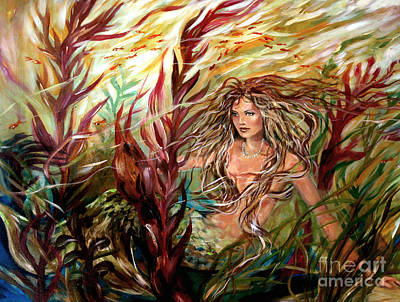 Seaweed Mermaid Art Print by Linda Olsen